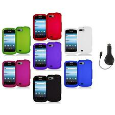 Color Hard Snap-On Rubberized Case Cover Accessory+RET Charger for ZTE Fury N850
