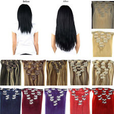 Clip In Real Remy Human Hair Extensions 7PCS Ombre Straight Black Blonde Brown