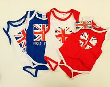Union Jack Baby T-Shirt Vests Romper Suit all sizes 100% cotton UNION JACK Flag