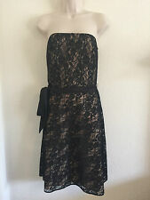 ANN TAYLOR LOFT Sz 4 Black Strapless Cocktail Dress Lace Nude Liner Party LBD