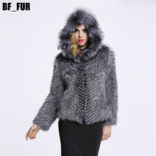 Winter Genuine Silver Fox Fur Jacket Coat Hat Fashio Zipper Lining Jacket C0135