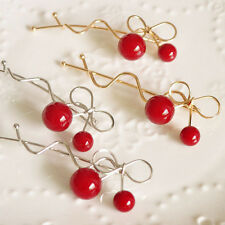 Women Stylish Lovely Red Cherry Shaped Bow Hairpin Twist Hair Clip Headdress New
