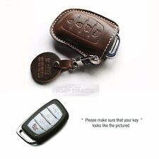 4Button Stitched Smart Key Leather Case Cover Holder Pouch HMD-6 for HYUNDAI