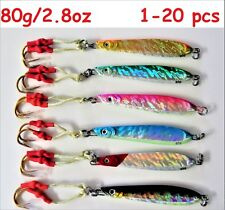 Knife Jigs 2.8oz/ 80g Vertical Butterfly Lures 6 Pieces - Choose Color