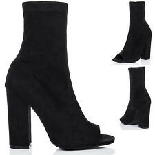 Womens Open Peep Toe Block Heel Ankle Boots Shoes Sz 3-8