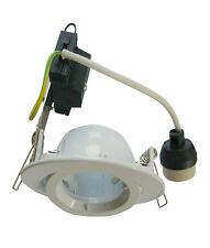 Downlight Fitting Round Gimbal GU10 in White or Chrome w Flex & Plug 10cm CLA