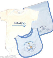 Personalized Baby Boy Onez Bib & Burp I Love Daddy- Sail Boat Design Free Ship