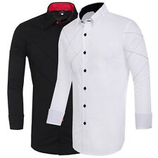 Plus Size S M L XL Mens Stylish Slim Fit Long Sleeve Splicing Casual Shirts Tops