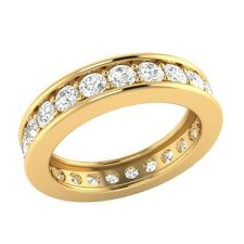 1.60 ct D/VSS1 Simulated Diamond 18k Solid Gold Full Eternity Wedding Band Ring