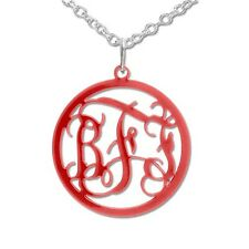Acrylic Monogram Necklace, 925 Sterling Silver chain, Jewelry, Fashion Pendant