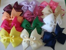 """Handmade 3.5"""" Grosgrain Ribbon Summer/Party/Sch/Holiday Ponytail Bow Bobbles"""