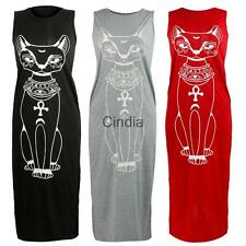 Women's Boho Long Maxi Dress Cat Print Summer Casual Beach Holiday Vest Sundress
