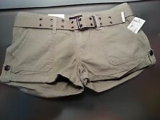 NWT ECKO RED BY ECKO UNLTD Junior Woman Belted Khaki Brown Utility Shorts