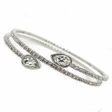 Crystal Twisty Drop Flexible Double Wrap Bangle Made with SWAROVSKI® Crystals