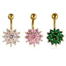 Sparkly Flower Zircon Navel Rings Belly Button Bar Body Piercing Jewelry