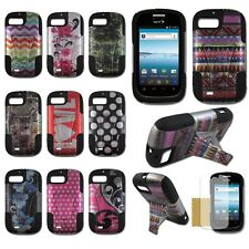 ZTE Fury N850 Valet Z665C Director Hybrid Plastic Silicone Cover Case T-Stand D2