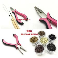 250 SILICONE MICRO HAIR BEADS Feather Hair Extension TOOL KIT PLIERS LOOP HOOK