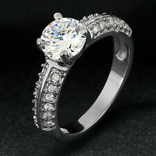 14k White Gold Plated Brass Solitaire Round Cubic Zirconia Engagement Ring