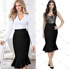 Womens High Waisted Elastic Cocktail Party Bodycon Pencil Dress Fishtail Skirt
