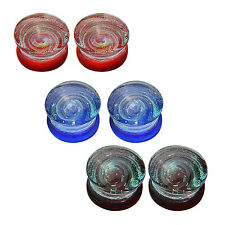 Glass Double Flared Saddle Plugs Set Hypnotic Spiral 10mm - 6 Pieces