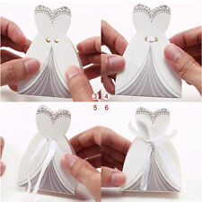 New 50x Bridal Gift Cases Groom Tuxedo Dress Gown Ribbon Wedding Favor Candy Box