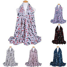 Infinity Scarf Women Long Dog Print Soft Voile Scarf Wrap Shawl Scarves Stole
