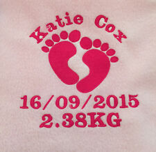 PERSONALISED BABY BLANKET FLEECE BABY FEET EMBROIDERED GIFT NAME DATE WEIGHT