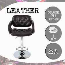 2 x PU Leather High Bar Stools Kitchen Dining Home Chairs Gas Lift Swivel Chair