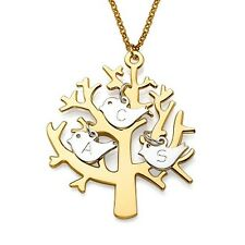 FamilyTree Necklace in 18K Gold Plated with Sterling Silver Initial Birds