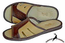 Slippers Mens Genuine Buffalo Leather Handmade House Indoor Sandal Flip Flops