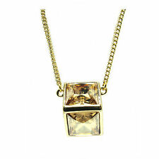 Gold-Plated Crystal Double Square  Necklace made with  SWAROVSKI® Crystals