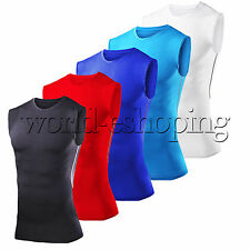 Mens Compression Sleeveless T-Shirt Under Skin Body Armour Base Layer Vest Tops