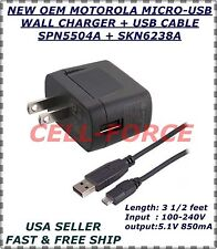 New OEM Original  Motorola USB Micro Charger+ Data Sync Cable Home Travel Wall