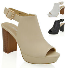 WOMENS PLATFORM HIGH BLOCK HEEL PEEP TOE LADIES BACKSTRAP ANKLE BOOTS SHOES