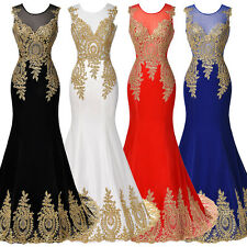 Sexy Women Gold Lace Long Dress Mermaid Bridesmaid Evening Formal Party Cocktail
