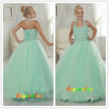 Girl Kids Pageant Girl Party Prom Ball Gown Dresses Flower Communion Green New
