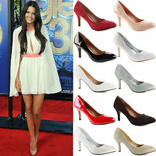 WOMENS LADIES LOW MID HIGH KITTEN HEEL WORK OFFICE BRIDAL COURT SHOES PUMPS SIZE