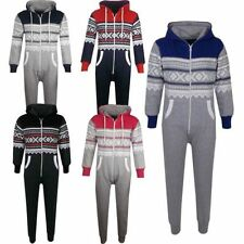 Kids Girls Boys Aztec Snowflake Print Hooded Onesie All In One Jumpsuit Age 5-13