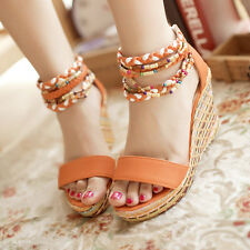 New Womens Open Toe Sandals Boho Platforms Wedge Heels Sandals Shoes All Size