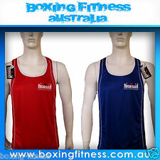 MORGAN REVERSIBLE BOXING SINGLET RED BLUE XS S M L XL new FIGHT amateur ABA NSW