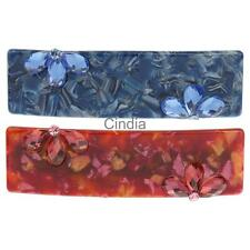 Fashion Floral Rhinestone Hair Barrette Acrylic Rectangular HairClip Headwear