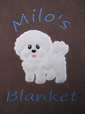 Personalised Dog / Puppy Blanket - Warm & Cosy Fleece - Bichon Frise  Great Gift