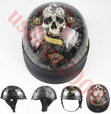 Motorcycle DOT Cruiser Touring Scooter Chopper Open Face Half Helmet Skull Crow