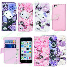 Bling Diamond Elegant 3D Cute Leather Wallet Hard Case Flip Cover For iPhone