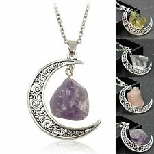 Retro Natural Quartz Crystal Point Chakra Healing Gemstone Moon Pendant Necklace