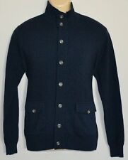 PERRY ELLIS COTTON MERINO PREMIUM NAVY SWEATER MOCK NECK JACKET CARDIGAN MEN