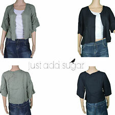 Just Add Sugar Womens Balmy Nights Throw On Open 1/2 Sleeve Cardigan Shoulder
