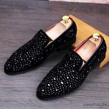 New Stylish Men's pointy toe rhinestones decorated dress formal loafers fashion