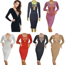 Fashion Sexy V-neck Long Sleeves Hip Dress Cross Straps Package Buttocks IY