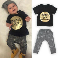 Newborn Toddler Kids Baby Boy Clothes T-shirt Tops + Pants Outfits Set US Stock